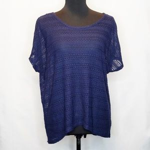 Cato Navy Knitted High-low Top.      213